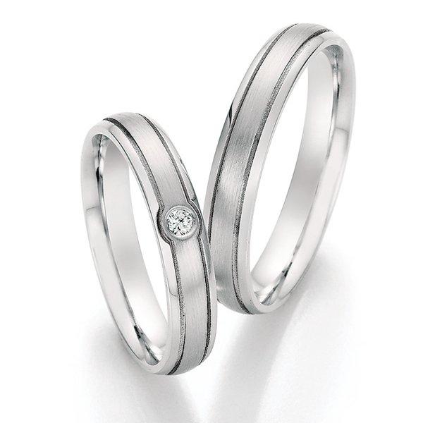 Snubní prsteny z oceli s diamantem SP-22010