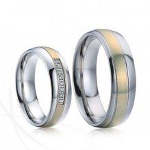 Zlacené ocelové snubní prsteny SP-7020