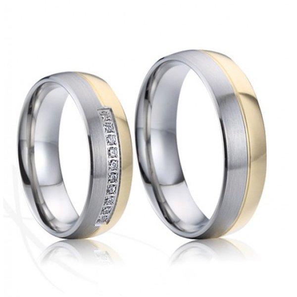 Ocelové snubní prsteny se zlacením SP-7023