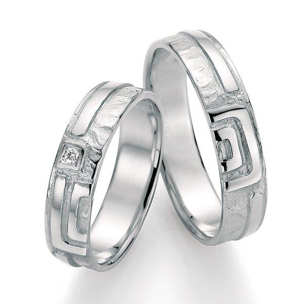 Stříbrné snubní prsteny s diamantem SP-51070