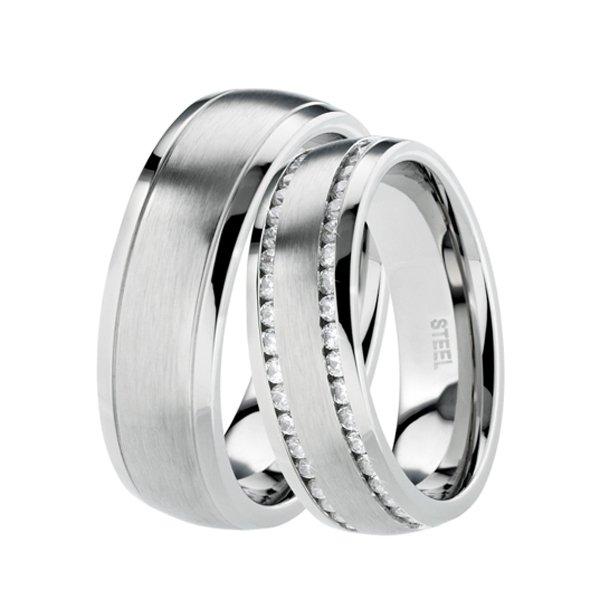 Ocelové snubní prsteny se zirkony ST-88075