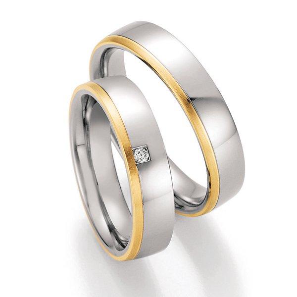 Ocelové snubní prsteny se zlatem a diamantem ST-01850
