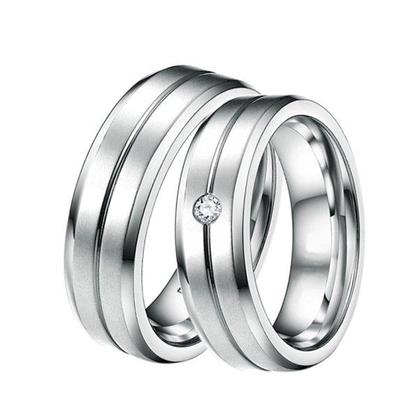 Snubní prsteny ocelové se zirkonem ST-88034