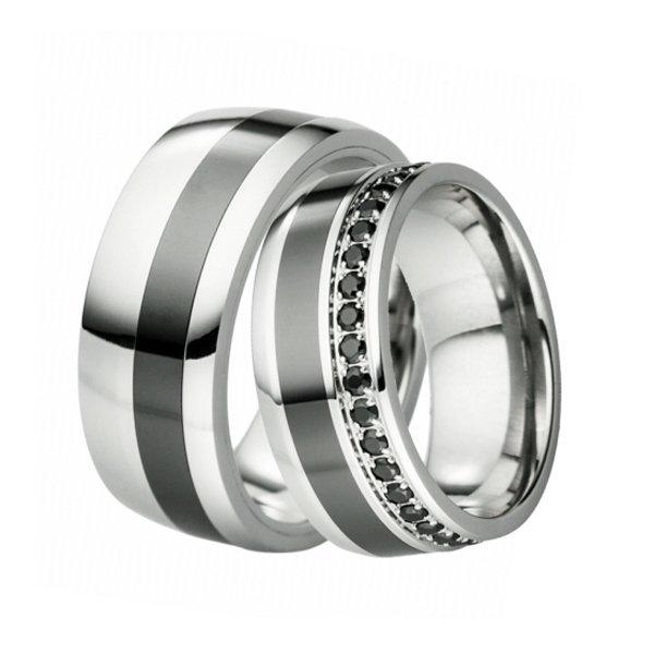 Ocelové snubní prsteny s keramikou SKS-88099