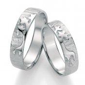 Stříbrné snubní prsteny s diamantem SP-51090