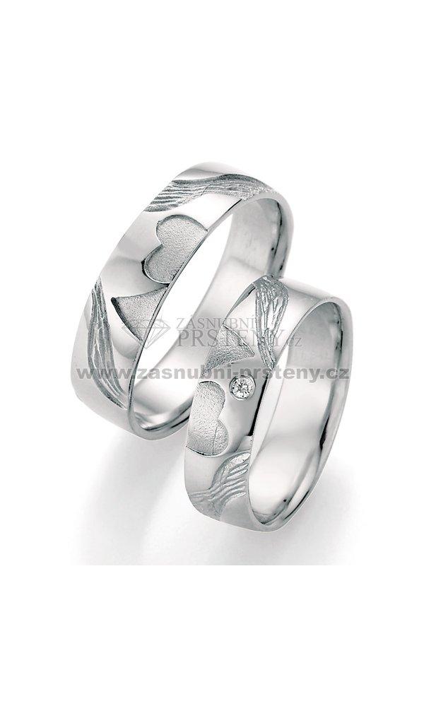 Stribrne Snubni Prsteny S Diamantem Sp 51050 Zasnubni Prsteny Cz