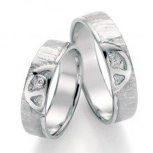 Stříbrné snubní prsteny s diamantem SP-51030