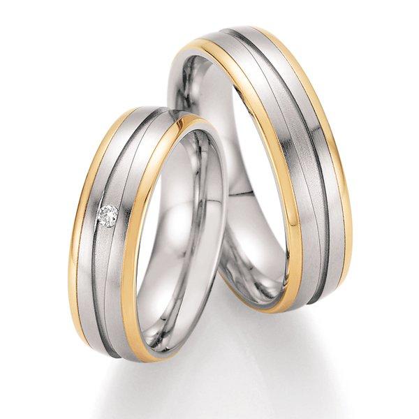Ocelové snubní prsteny se zlatem a diamantem ST-01830