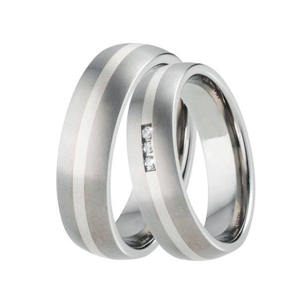 Snubní prsteny titan - stříbro TS-88001