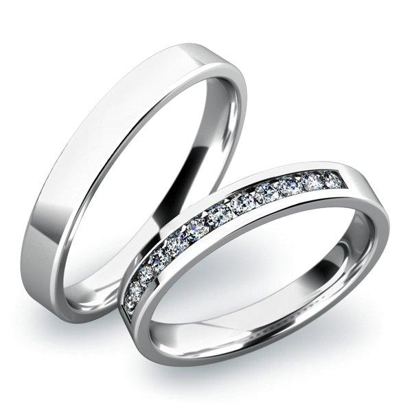 Snubní prsteny z bílého zlata SP-61016B