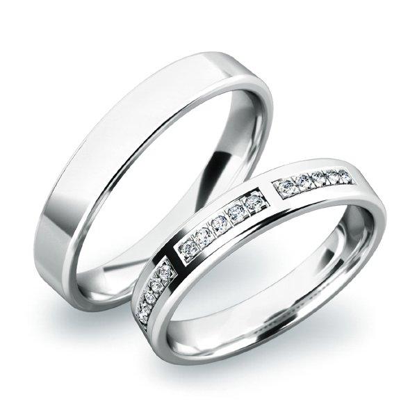 Snubní prsteny z bílého zlata SP-61018B