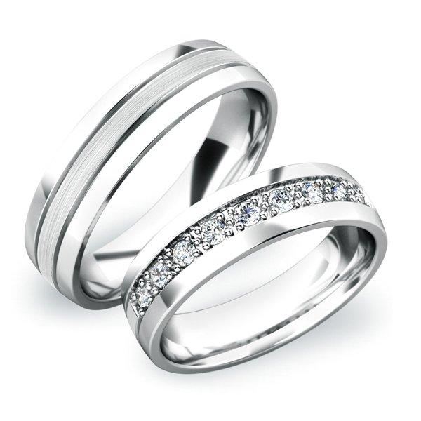 Snubní prsteny z bílého zlata SP-61043