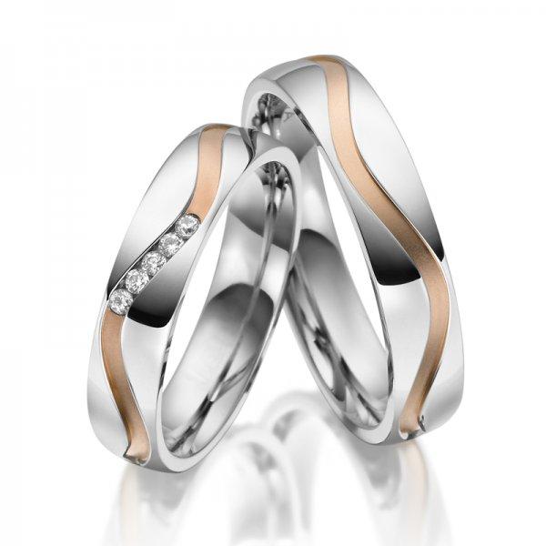 Ocelové snubní prsteny se zirkony SP-ES-019