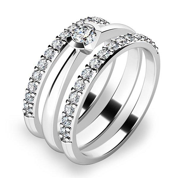 Krásný set zásnubních prstenů z bílého zlata 10809-SET02-BB