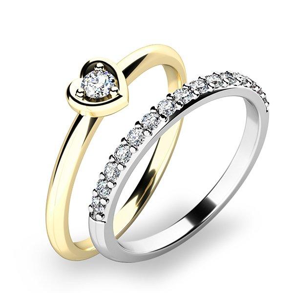 Nádherný set zásnubních prstenů ze zlata 10849-SET01-ZB