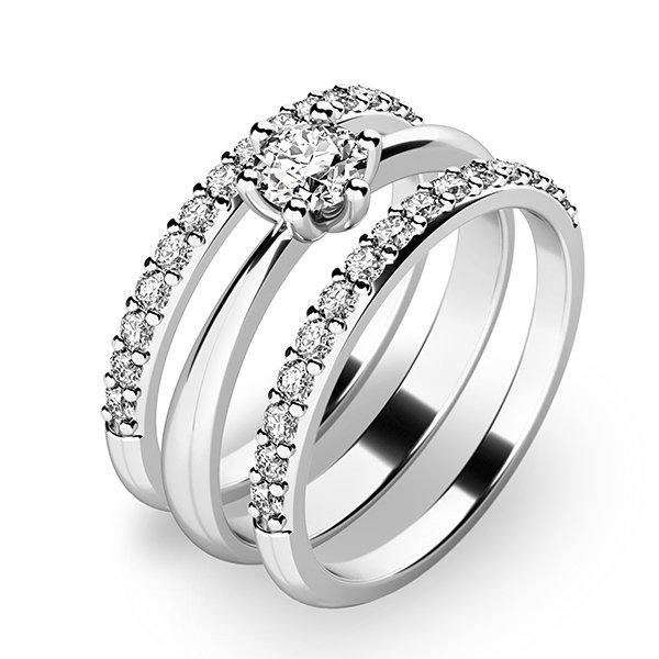 Set prstenů z bílého zlata 10819-SET02-BB