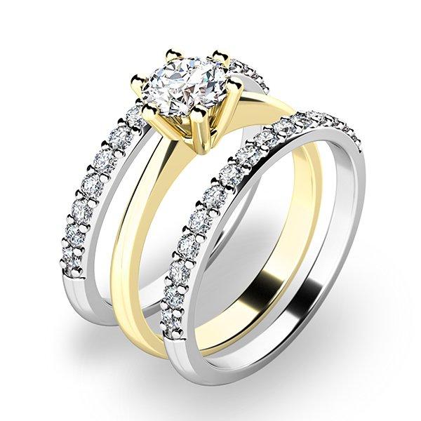 Set zásnubních prstenů z kombinovaného zlata 10720-SET02-ZB