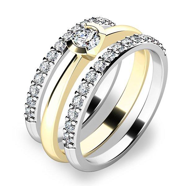 Krásný set zásnubních prstenů ze žlutého a bílého zlata 10809-SET02-ZB