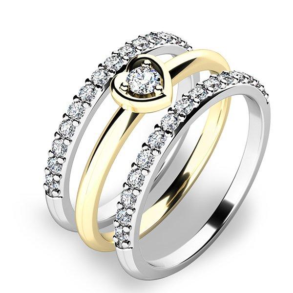 Nádherný set zásnubních prstenů ze zlata 10849-SET02-ZB