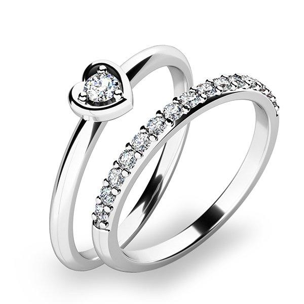 Nádherný set zásnubních prstenů z bílého zlata 10849-SET01-BB