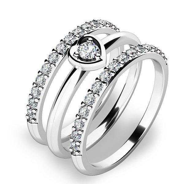 Nádherný set zásnubních prstenů z bílého zlata 10849-SET02-BB