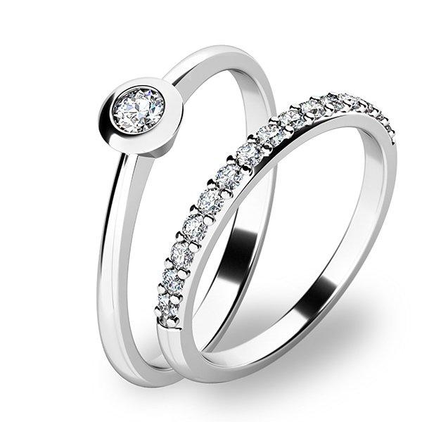 Set zásnubních prstenů z bílého zlata 10807-SET01-BB