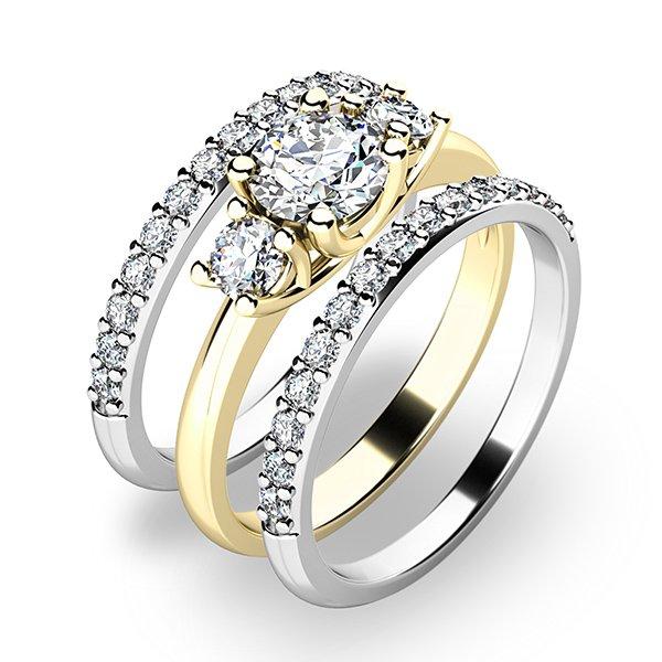 Set prstenů ze žlutého a bílého zlata 10803-SET02-ZB