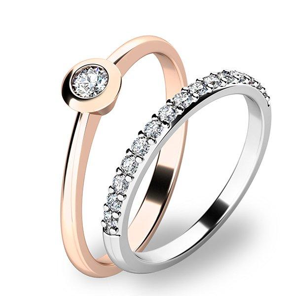 Set zásnubních prstenů z růžového a bílého zlata 10807-SET01-RB