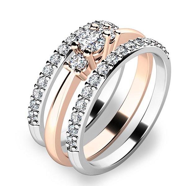 Úžasný set zásnubních prstenů z bílého a růžového zlata 10843-SET02-RB