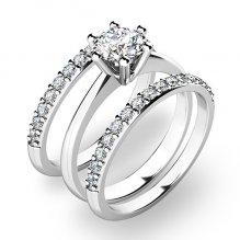 Set zásnubních prstenů v bílém zlatě 10720-SET02-BB
