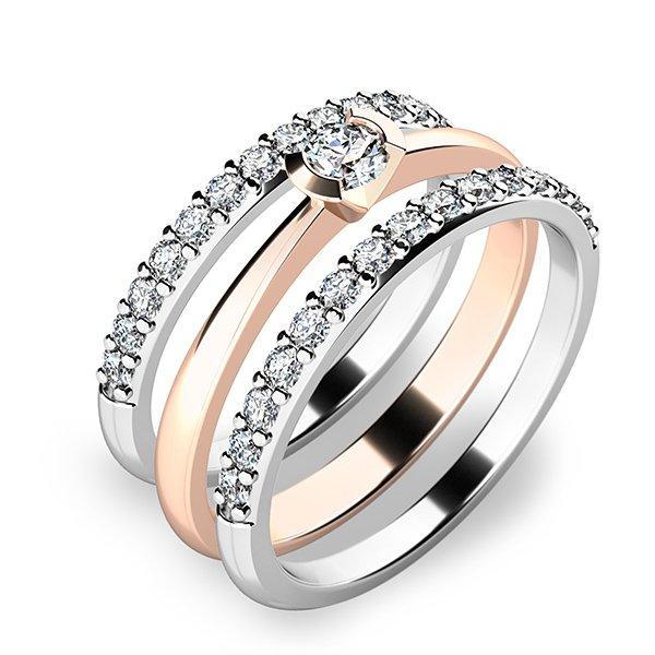 Krásný set zásnubních prstenů z růžového a bílého zlata 10809-SET02-RB