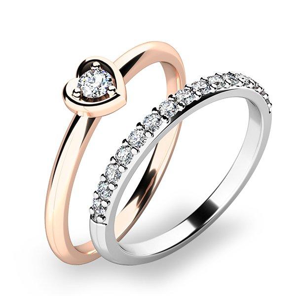 Nádherný set zásnubních prstenů z růžového zlata 10849-SET01-RB