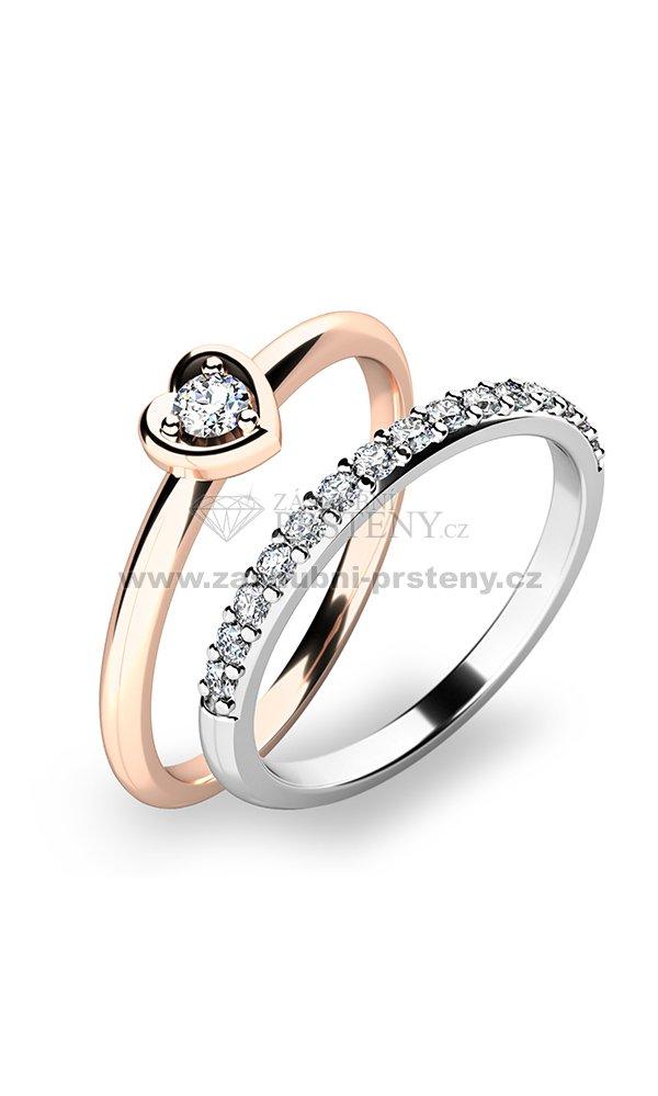 Nadherny Set Zasnubnich Prstenu Z Ruzoveho Zlata 10849 Set01 Rb