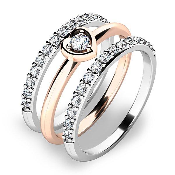 Nádherný set zásnubních prstenů z růžového zlata 10849-SET02-RB