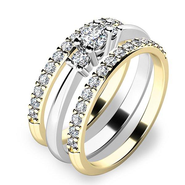 Úžasný set zásnubních prstenů ze zlata 10843-SET02-BZ