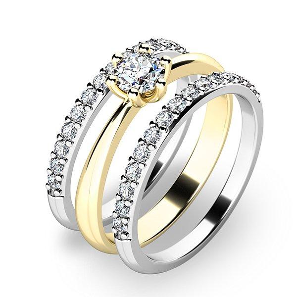 Set prstenů ze žlutého a bílého zlata 10819-SET02-ZB