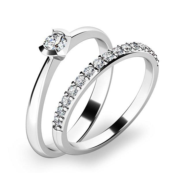 Krásný set zásnubních prstenů z bílého zlata 10809-SET01-BB