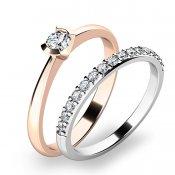 Krásný set zásnubních prstenů z růžového a bílého zlata 10809-SET01-RB