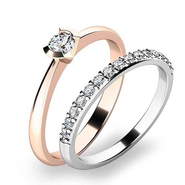 Krásný set zásnubních prstenů z růžového a bílého zlata 10840-SET01-RB