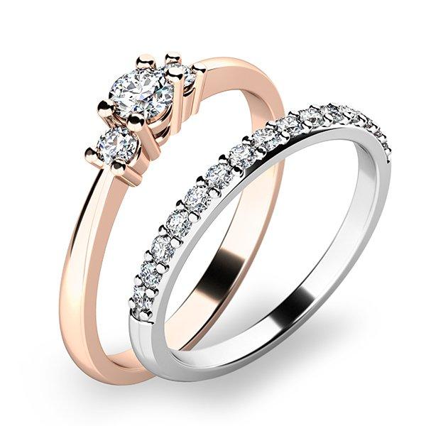 Úžasný set zásnubních prstenů ze zlata 10843-SET01-RB