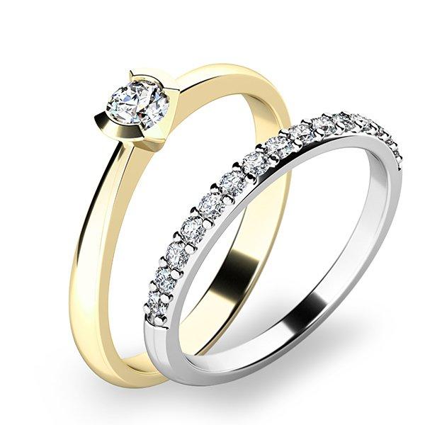 Krásný set zásnubních prstenů ze žlutého a bílého zlata 10840-SET01-ZB