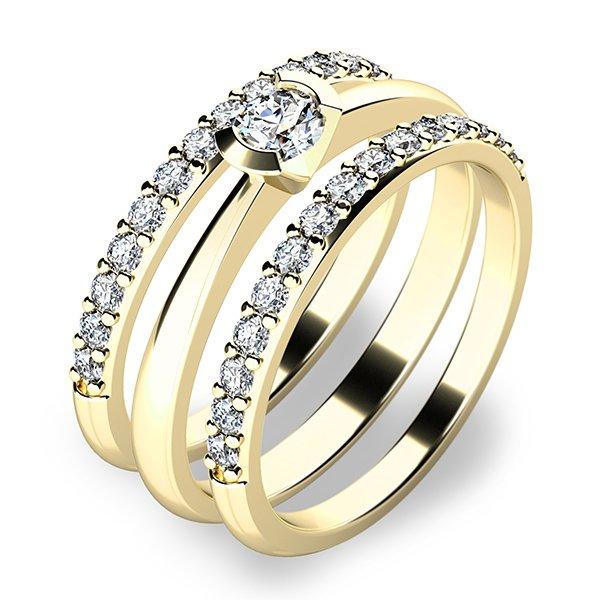 Krásný set zásnubních prstenů ze žlutého zlata 10809-SET02-ZZ
