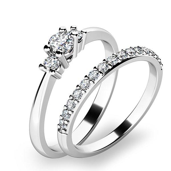 Úžasný set zásnubních prstenů z bílého zlata 10843-SET01-BB