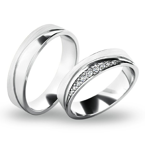 Snubní prsteny - bílé zlato SP-61068B