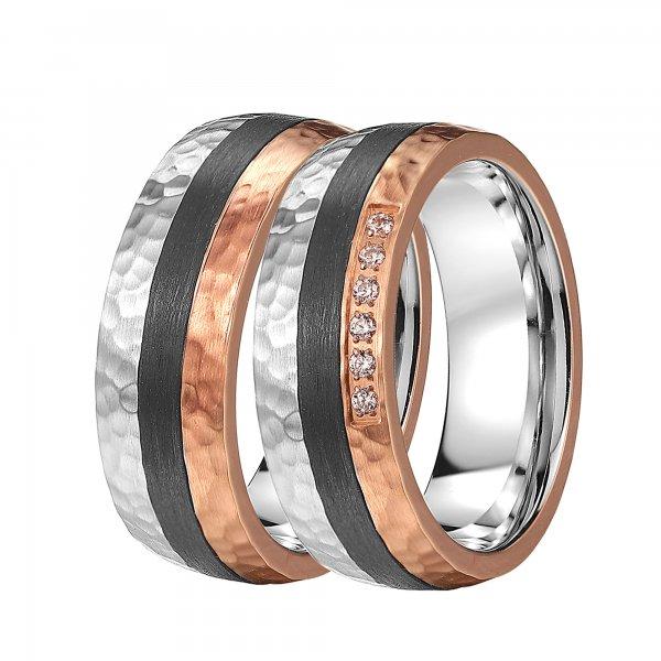Ocelové snubní prsteny s karbonem SC-88100