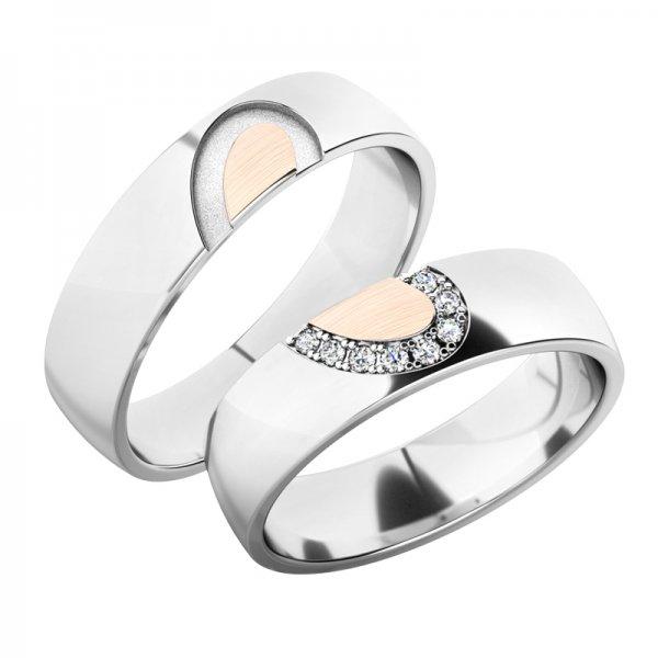 Snubní prsteny z bílého zlata SP-61082B