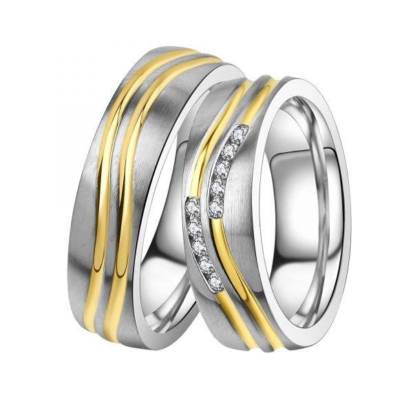 Ocelové snubní prsteny se zirkony ST-88093