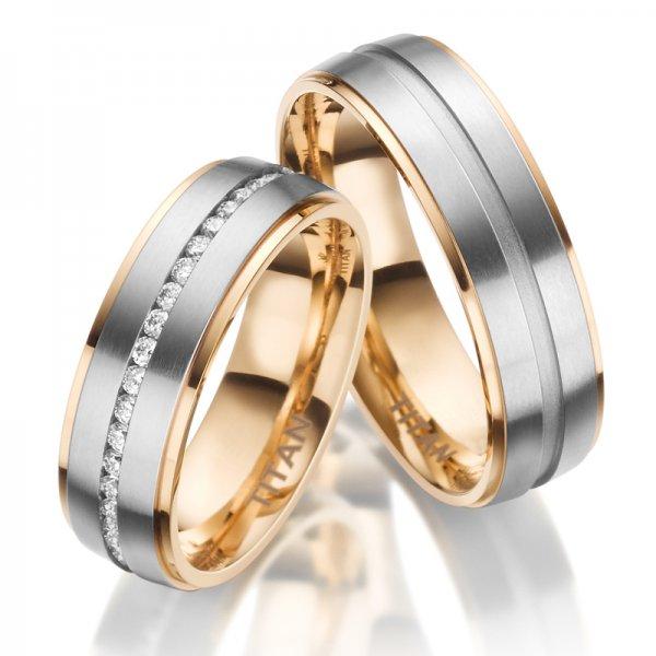 Titanové zlacené snubní prsteny SP-TI-023