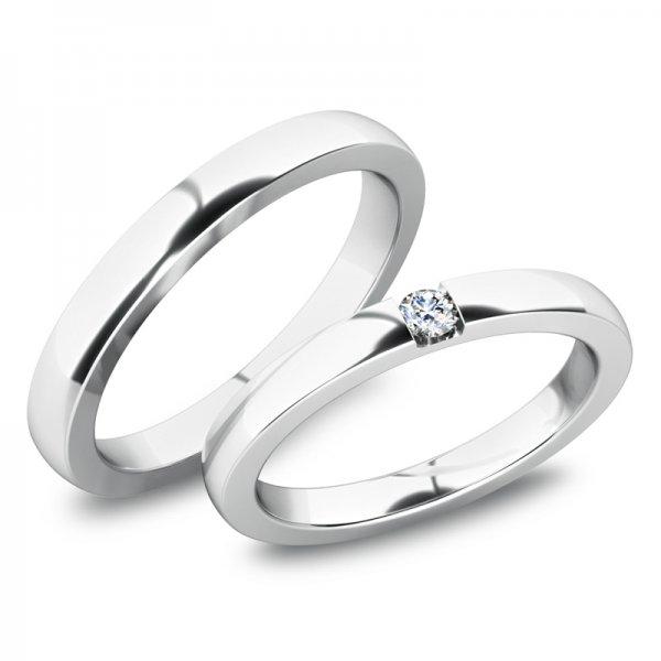 Moderní snubní prsteny z bílého zlata SP-61083B