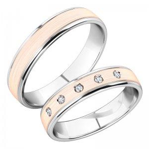Snubní prsteny ze žlutého a bílého zlata SP-251-BR